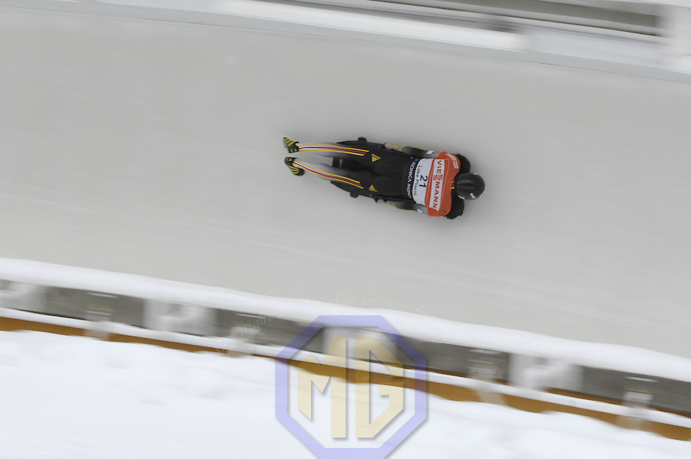 14 December 2007: Florian Grassl of Germany competes at the FIBT World Cup Men's skeleton competition on December 14, 2007 at the Olympic Sports Complex in Lake Placid, NY.  The race was won by Eric Bernotas of the United States.