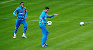 NETHERLANDS, HOENDERLOO : Dutch international football player Ibrahim Afellay (l) with Robin van Persie   at the trainingcamp of the Netherlands national football team in Hoenderloo on May 31, 2012. AFP PHOTO/ ROBIN UTRECHT