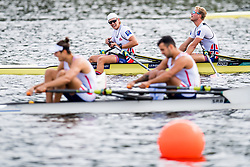 August 5, 2018 - Glasgow, UNITED KINGDOM - 180805 Jan Oscar Helvig (stroke) and Erik Solbakken (bow) look dejected after competing in the final B of men's double sculls rowing during the European Championships on August 5, 2018 in Glasgow..Photo: Jon Olav Nesvold / BILDBYRÃ…N / kod JE / 160285 (Credit Image: © Jon Olav Nesvold/Bildbyran via ZUMA Press)