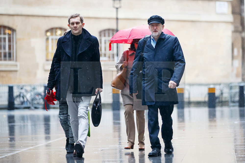 © Licensed to London News Pictures. 15/01/2017. London, UK. Labour party leader JEREMY CORBYN arrives at BBC Broadcasting House in London with Labour Party's Executive Director of Strategy and Communications SEUMAS MILNE to appear on The Andrew Marr show on BBC One on 15 January 2017. Photo credit: Tolga Akmen/LNP