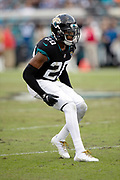 Jacksonville Jaguars cornerback Jalen Ramsey (20) chases the action during the NFL week 13 regular season football game against the Indianapolis Colts on Sunday, Dec. 2, 2018 in Jacksonville, Fla. The Jaguars won the game in a 6-0 shutout. (©Paul Anthony Spinelli)