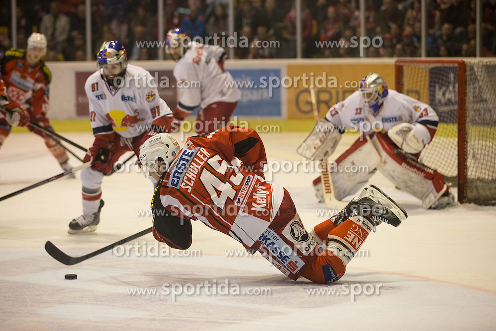 29.03.2015, Stadthalle, Klagenfurt, AUT, EBEL, EC KAC vs EC Red Bull Salzburg, 4. Spiel Playoff Halbfinale, im Bild David Schuller (EC KAC, #45), s81, Luka Gracnar (EC Red Bull Salzburg, #35) // during the Erste Bank Icehockey League 4th game playoff seminfinals match betweeen EC KAC and EC Red Bull Salzburg at the City Hall in Klagenfurt, Austria on 2015/03/29. EXPA Pictures © 2015, PhotoCredit: EXPA/ Gert Steinthaler