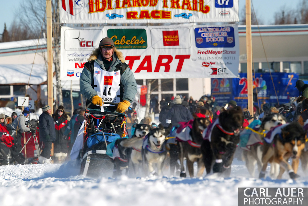 3/4/2007:  Willow, Alaska -  The quiet 4 time Iditarod champion Veteran Rick Swenson of Two Rivers, AK heads out in search of win number 5 in the 35th Iditarod Sled Dog Race
