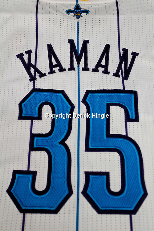 December 17, 2011; New Orleans, LA, USA; A detailed view of the jersey of New Orleans Hornets center Chris Kaman (35) at a press conference to introduce players acquired from the Los Angeles Clippers in the Chris Paul trade prior to team scrimmage at the New Orleans Arena.   Mandatory Credit: Derick E. Hingle-US PRESSWIRE