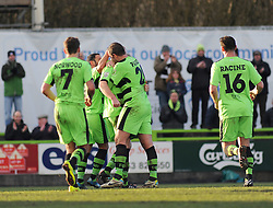 Forest Green Rovers's Charlie Clough celebrates his goal with team mates - Photo mandatory by-line: Nizaam Jones - Mobile: 07966 386802 - 21/02/2015 - SPORT - Football - Nailsworth - The New Lawn - Forest Green Rovers v AFC Telford - Vanarama Football Conference