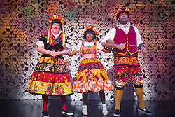 "© Licensed to London News Pictures. 09/12/2014. L-R: Michael Bertenshaw, Helen Aluko and Minal Patel. London, England. Photocall for the Christmas panto ""Beauty & the Beast"" at the Theatre Royal Stratford East. The pantomime runs from 29 November 2014 to 17 January 2015. With Helen Aluko as Belle and Vlach Ashton as Beast. Photo credit: Bettina Strenske/LNP"