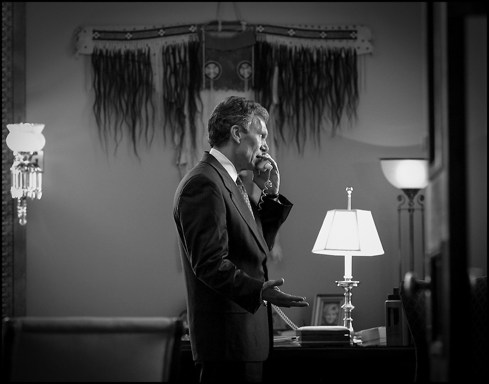 Senator Majority Leader Tom Daschle on the phone with President Bush. 9/13/01..©PF BENTLEY/PFPIX.com