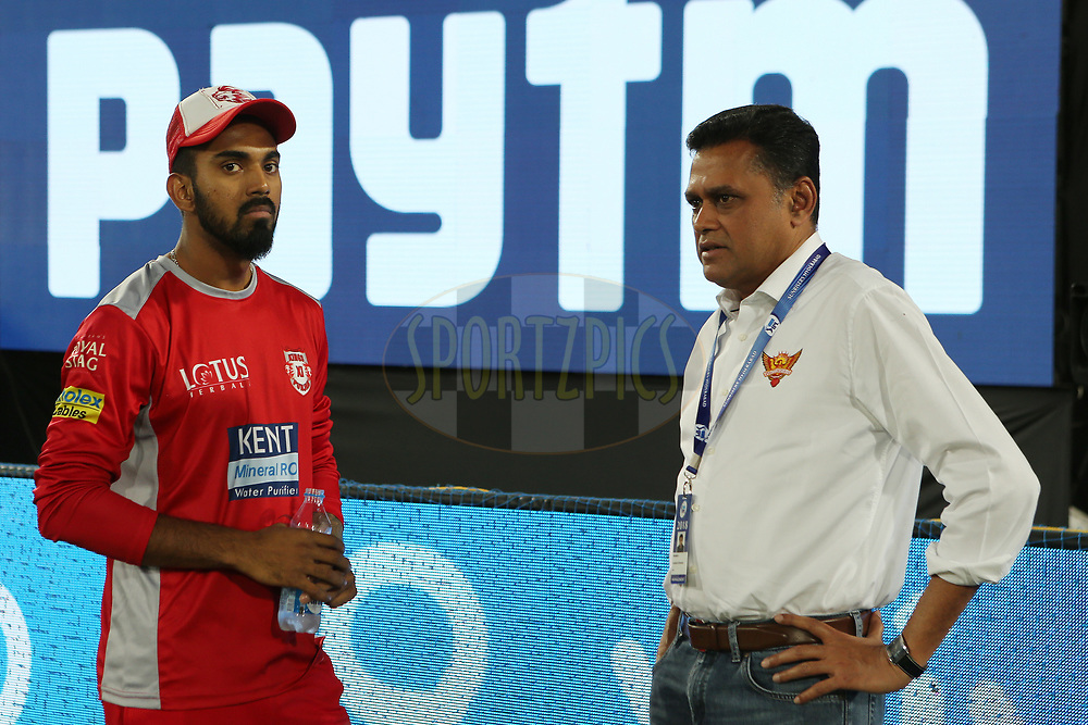 KL Rahul of Kings Xi during match twenty five of the Vivo Indian Premier League 2018 (IPL 2018) between the Sunrisers Hyderabad and the Kings XI Punjab  held at the Rajiv Gandhi International Cricket Stadium in Hyderabad on the 26th April 2018.<br /> <br /> Photo by: Ron Gaunt /SPORTZPICS for BCCI