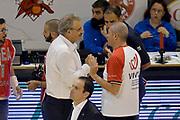 DESCRIZIONE : Pistoia Lega A 2014-2015 Giorgio Tesi Group Pistoia Banco di Sardegna Sassari<br /> GIOCATORE : Romeo Sacchetti Luigi Lamonica<br /> CATEGORIA : Pregame Fairplay Arbitro<br /> SQUADRA : Banco di Sardegna Sassari Arbitro<br /> EVENTO : Campionato Lega A 2014-2015<br /> GARA : Giorgio Tesi Group Pistoia Banco di Sardegna Sassari<br /> DATA : 20/10/2014<br /> SPORT : Pallacanestro<br /> AUTORE : Agenzia Ciamillo-Castoria/GiulioCiamillo<br /> GALLERIA : Lega Basket A 2014-2015<br /> FOTONOTIZIA : Pistoia Lega A 2014-2015 Giorgio Tesi Group Pistoia Banco di Sardegna Sassari<br /> PREDEFINITA :