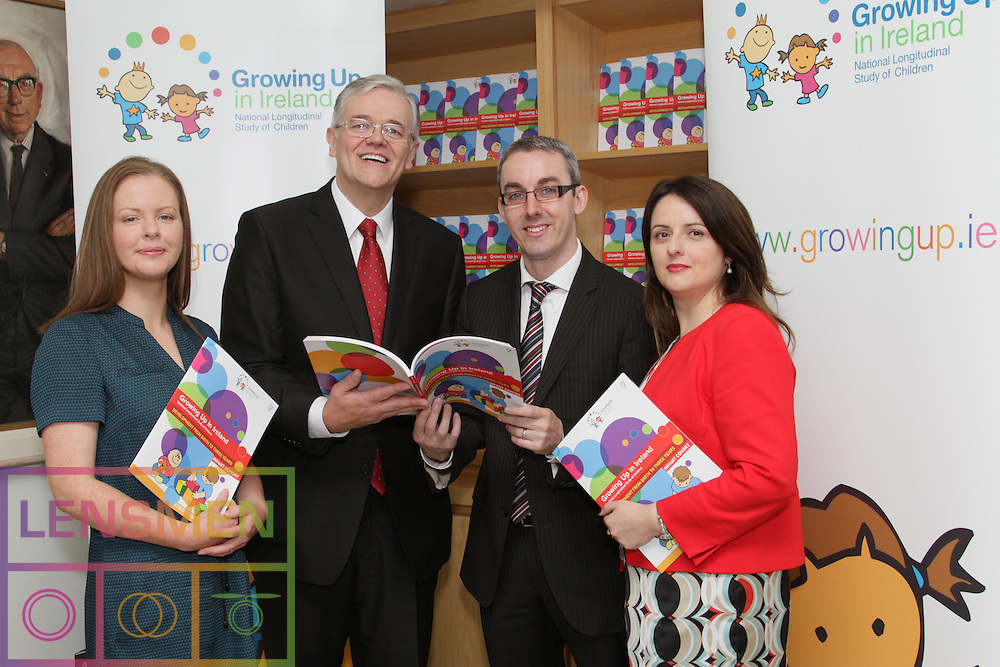 Growing Up in Ireland – Development from birth to three years.<br /> <br /><br />Date: Friday September 20th 2013, 11.00am<br />Location: ESRI, Whitaker Square, Sir John Rogerson's Quay, Dublin 2<br /><br /><br /><br />Growing Up in Ireland (the national longitudinal study of children) today published a new report by James Williams, Aisling Murray, Cathal McCrory and Sinéad McNally, on how children in Ireland are faring at three years of age. The report is being launched by the Minister for Children and Youth Affairs, Ms. Frances Fitzgerald, TD at an event at the ESRI in Dublin.<br />Development from birth to three years investigates how three-year-olds in Ireland are doing in terms of their physical health and development; their socio-emotional /behavioural well-being and their cognitive development.  The report also examines how outcomes are affected by the home environment of the children, by their childcare arrangements (where this is relevant) and by their family's economic and financial situation.<br />The Growing Up in Ireland study, started in 2006, involves two cohorts of children: an infant cohort of 11,000 children recruited into the study at 9 months of age, and a child cohort of 8,500 children recruited at 9 years of age.<br /> <br />The study is wholly funded by Department of Children and Youth Affairs, in association with the Department of Social Protection and the Central Statistics Office. The younger children have been re-interviewed at 3 years and 5 years of age.  The older group was re-interviewed at 13 years of age.<br /> <br />In July this year the Minister for Children and Youth Affairs (Ms Frances Fitzgerald T.D.) announced that the Study would be extended for a further 5 years from 2015-2019.  The analyses from these additional surveys will feed into evidence-informed policy development and will position Ireland at the international forefront of child cohort studies throughout the world.<br /> <br />Key Findings:<br />Family and home environ