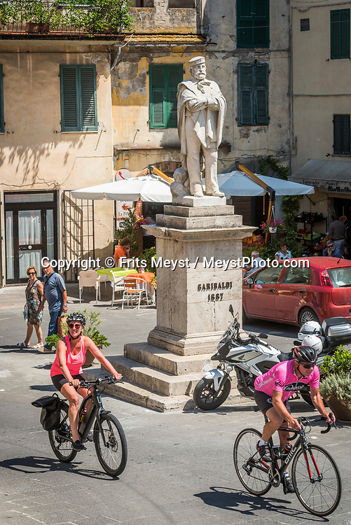Scansano, Maremma, Tuscany, Italy, July 2016.  Scansano is a beautiful medieval town situated on top of a panoramic hill. The shoreline of Tuscany is at its best in the Maremma region; the name derives from Marittima, referring to the rugged coastal strip and inland hills of the Grosseto, Tuscany's southernmost province.  Photo by Frits Meyst / MeystPhoto.com
