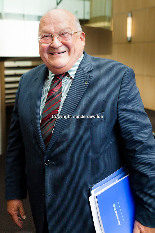 Jean-Luc Dehaene of the board of directors,  just after giving his vision on the current situation of Dexia Bank. Brussels, Belgium, 11 november 2011