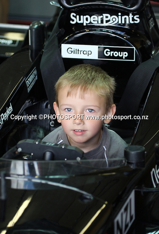 5 year old Toby Lipinski from Tauranga enjoys being in the hot seat of the Team NZ car Black Beauty.<br />A1 Official Practice. Taupo, New Zealand. Saturday 19 January 2008. Photo: Andrew Cornaga/PHOTOSPORT
