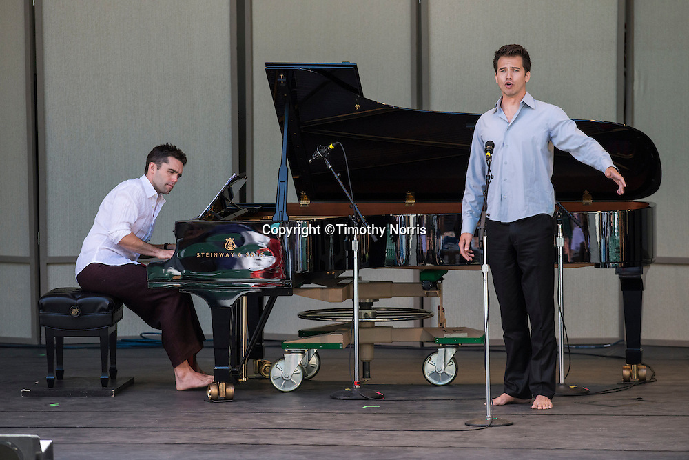 Bass-baritone Douglas Williams and pianist Colin Fowler perform works by Henry Cowell and Charles Ives at Libbey Bowl on June 9, 2013 in Ojai, California.