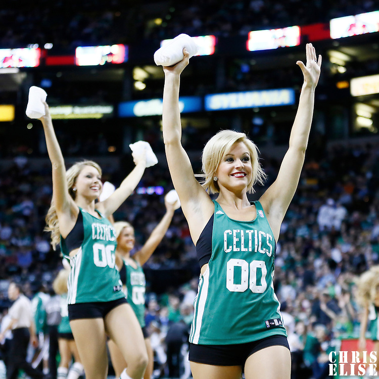 29 March 2013: The Celtics Dancers are seen during the Boston Celtics 118-107 victory over the Atlanta Hawks at the TD Garden, Boston, Massachusetts, USA.