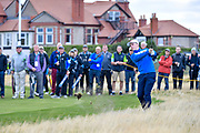 Conor Purcell (GB&I) plays his second shot to the first hole during the Saturday morning Foursomes in the Walker Cup at the Royal Liverpool Golf Club, Saturday, Sept 7, 2019, in Hoylake, United Kingdom. (Steve Flynn/Image of Sport)