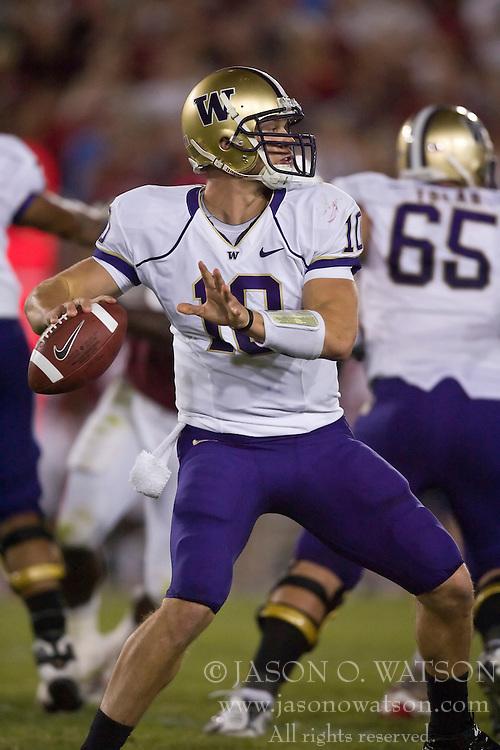 September 26, 2009; Stanford, CA, USA;  Washington quarterback Jake Locker (10) passes against the Stanford Cardinal in the third quarter at Stanford Stadium. Stanford won 34-14.