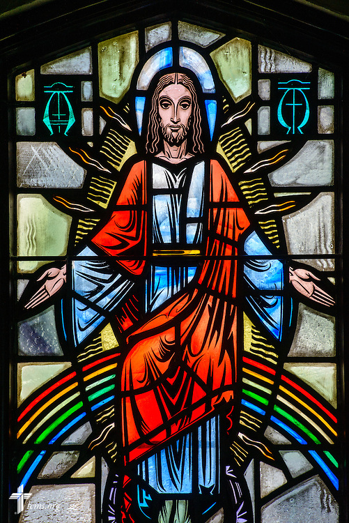 Stained glass at Luther Memorial Chapel depicting the coming of Jesus Christ on Friday, Jan. 29, 2016, in Shorewood, Wis. LCMS Communications/Erik M. Lunsford