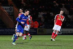 Rochdale's Ian Henderson celebrates after scoring his sides third goal - Photo mandatory by-line: Matt McNulty/JMP - Mobile: 07966 386802 - 03/03/2015 - SPORT - football - Rochdale - Spotland Stadium - Rochdale v Crewe Alexandra - Sky Bet League One