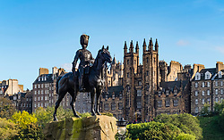 View of Scots Guards statue on Princes Street in Edinburgh, Scotland, United Kingdom.