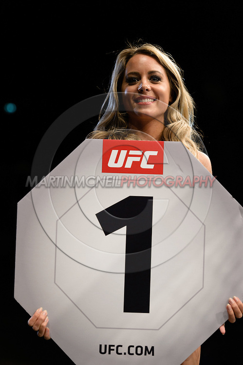 """GLASGOW, SCOTLAND, JULY 18, 2015: Carly Baker stands on the cage apron during """"UFC Fight Night 72: Bisping vs. Leites"""" inside the SSE Hydro Arena in Glasgow, Scotland (Martin McNeil for ESPN)"""