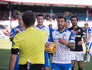 16th September 2017, Dens Park, Dundee, Scotland; Scottish Premier League football, Dundee versus St Johnstone; St Johnstone's Richard Foster and St Johnstone's Steven Anderson rage at referee Alan Muir after he had awarded Dundee a penalty