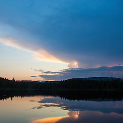 Sunset on Little Berry Pond in Maine's Northern Forest. Cold Stream watershed, Johnson Mountain Township.