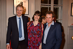 Zac Goldsmith, Georgia Coleridge and Edward Bridges at Mark Shand's Adventures and His Cabinet Of Curiosities VIP private view, 32 Portland Place, London, England. 20 February 2018.