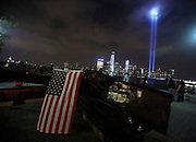 The Tribute in Lights as seen from the Jersey City waterfront on 9/11/13.
