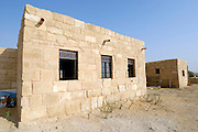 Israel, Negev, Shivta, a modern house built from local material using traditional building methods
