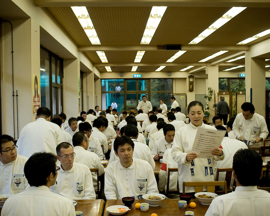 Before each meal the students, led by their instructor, sing their praise of their company.<br /> <br /> &quot;The Leaders Training School&quot; is the largest of its kind in Japan. It is both a caricature and a mirror of a Japanese economy in the throes of its worst financial crisis in over thirty years. The goal is to train Japanese managers of industry to become loyal soldiers in service to their companies. Every two weeks, 200 executives learn to 'read, write, speak, think and act' in classes resembling army boot camp. As in the army, the schedule, like the discipline, is strict. After thirteen days of intense exercises in 'hell', as few as 10% of the students enrolled receive their diploma. Every year, thousands of industry managers are sent by their hierarchy to the &laquo; Leaders Training School &raquo; to 'correct their errors'. During the thirteen day course they will learn to toe the line.