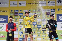 Celebration with champagne on podium  POELS Wouter(Ned)/ BOASSON HAGEN Edvald (Nor) Yellow Leader Jersey/ DOULL Owain (Gbr) during the 12th Tour of Britain 2015, Stage 8, London - London (86,8Km) on September 13, 2015 - Photo Tim De Waele / DPPI