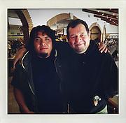 artists Beto Ruiz and Marcos Ramirez at Sonborn's, Tijuana..http://www.stefanfalke.com/.© Stefan Falke..