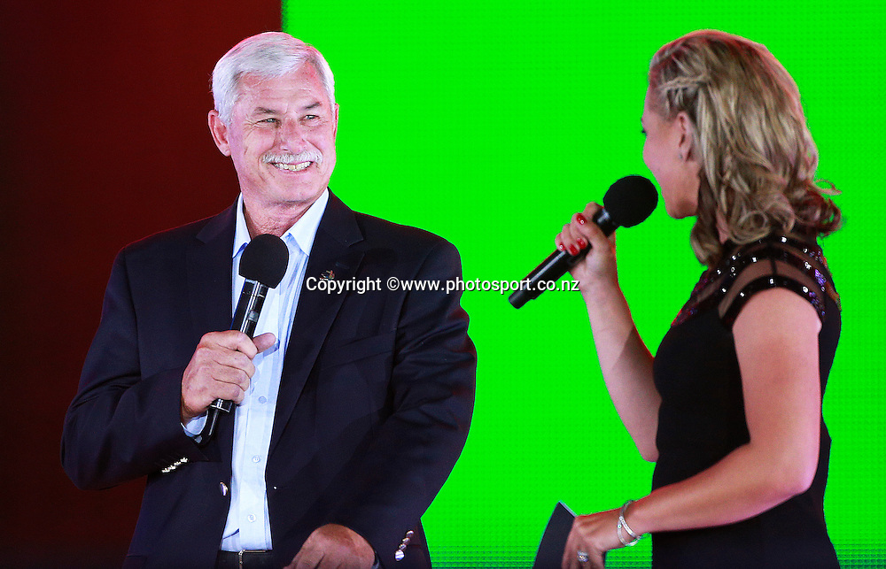 Sir Richard Hadlee and Laura McGoldrick presenter on stage during the ICC Cricket World Cup Opening Ceremony venue staged in Hagley Park, Christchurch. 12 February 2015 Photo: Joseph Johnson / www.photosport.co.nz