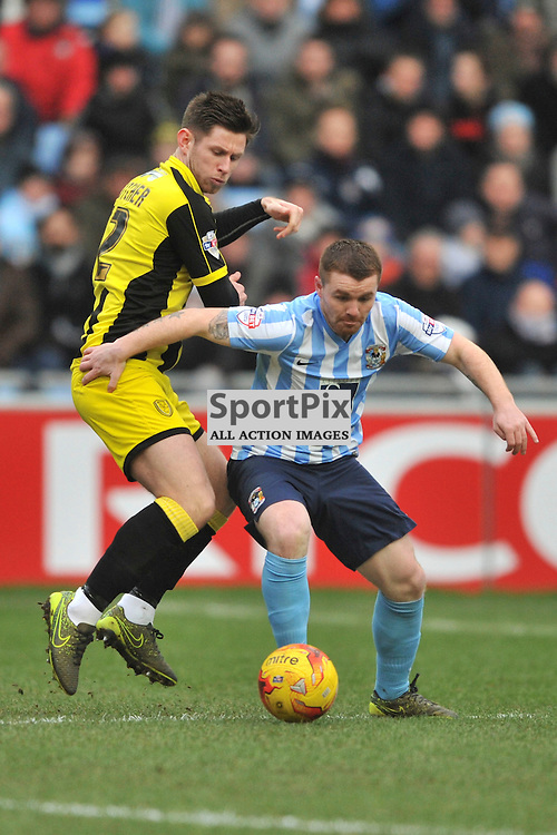 John Fleck Coventry City battles with Burtons Calum Butcher,  Coventry City, Coventry City v Burton Albion, Ricoh Arena,  Sky Bet League 1, Saturday 16th JJanuary 2016, (Mike Capps/Sportpix)