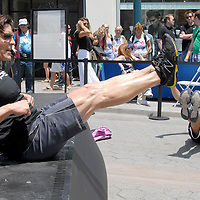 Celebrity Fitness Trainer and Creator of P90X, Tony Horton teaches a fitness class at the Third Street Promenade during the Santa Monica Chamber of Commerce's 26th Annual Health and Fitness Festival on Saturday, July 30, 2011.