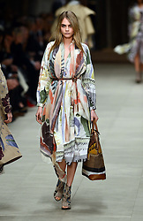 Cara Delevingne on the catwalk at the Burberry Prorsum show at London Fashion Week A/W 14, Monday, 17th February 2014. Picture by Stephen Lock / i-Images