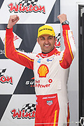 20th May 2018, Winton Motor Raceway, Victoria, Australia; Winton Supercars Supersprint Motor Racing; Fabian Coulthard celebrates after he drove the number 12 DJR Team Penske Ford Falcon FG X to victory in race 14 of the 2018 Supercars Championship