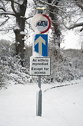 Snow covered sign, Wales December 2010