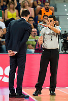 Referee with FC Barcelona Lassa coach Georgios Bartzokas during the final of Supercopa of Liga Endesa Madrid. September 24, Spain. 2016. (ALTERPHOTOS/BorjaB.Hojas)