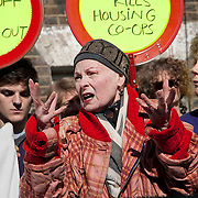 Vivienne Westwood supporting local residents from Lambeth who are facing eviction.London, May 2014