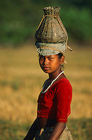 Nepal. Region du Terai.  Ethnie Tharu. Pecheurs des rizieres // Nepal. Terai area. Tharu Ethnic group. Fisher of the rice field.