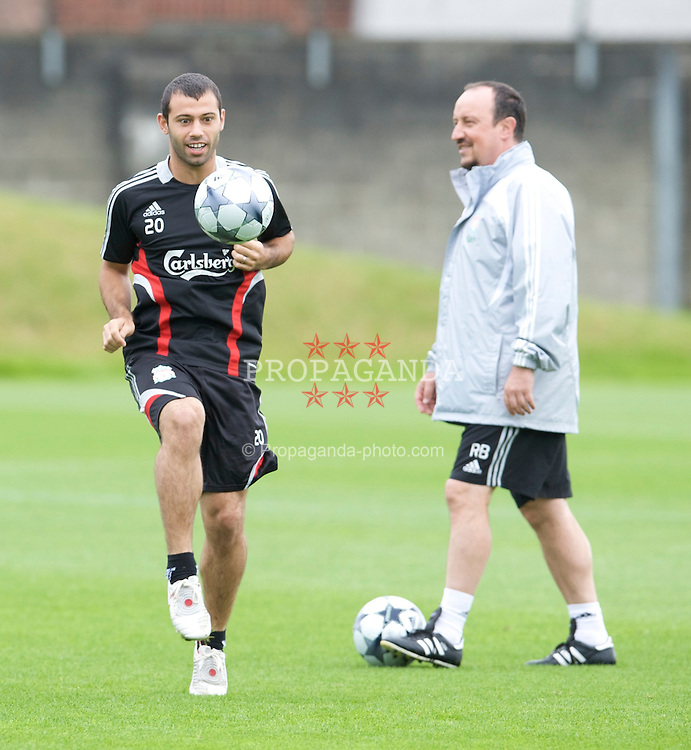 LIVERPOOL, ENGLAND - Tuesday, August 26, 2008: Liverpool's Javier Mascherano and manager Rafael Benitez during training at Melwood Training Ground ahead of the UEFA Champions League Third Qualifying Round 2nd Leg match against Royal Standard de Liege. (Photo by David Rawcliffe/Propaganda)