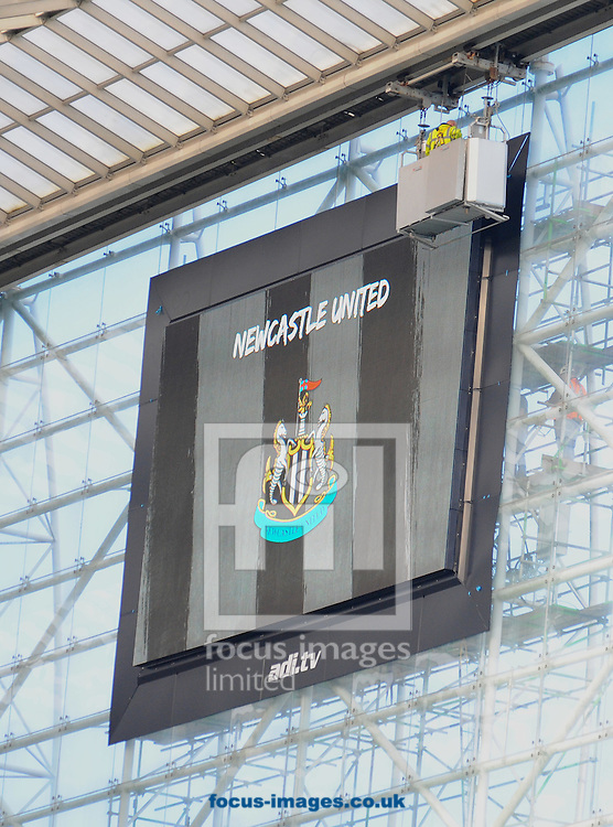 A giant screen is working well after being repaired after causing a delay to the Barclays Premier League match at St. James's Park, Newcastle<br /> Picture by Greg Kwasnik/Focus Images Ltd +44 7902 021456<br /> 18/10/2014