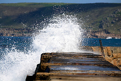 UK CORNWALL SENNEN COVE 10JUN08 - Waves crash against the harbour wall at Sennen Cove in Cornwall, western England...jre/Photo by Jiri Rezac / WWF UK..© Jiri Rezac 2008..Contact: +44 (0) 7050 110 417.Mobile:  +44 (0) 7801 337 683.Office:  +44 (0) 20 8968 9635..Email:   jiri@jirirezac.com.Web:    www.jirirezac.com..© All images Jiri Rezac 2008 - All rights reserved.