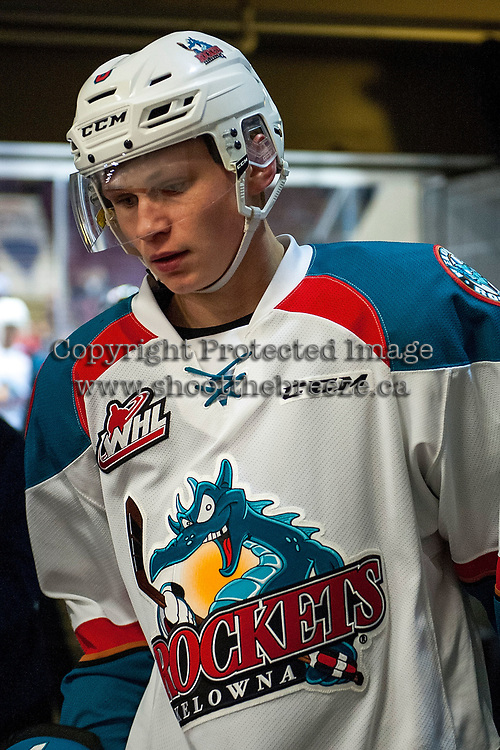 KELOWNA, CANADA - JANUARY 3: Kaedan Korczak #6 of the Kelowna Rockets heads for the dressing room after warm up against the Tri-City Americans on January 3, 2017 at Prospera Place in Kelowna, British Columbia, Canada.  (Photo by Marissa Baecker/Shoot the Breeze)  *** Local Caption ***