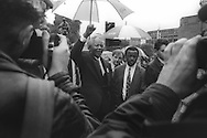 Nelson Mandela in George Square, Glasgow, Scotland, on 9th October 1993. Mandela was in Glasgow to receive the 'Freedom of the City' honour.