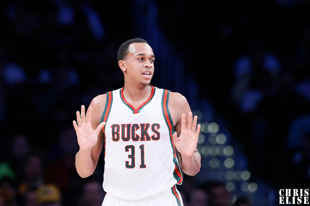 27 February 2015: Milwaukee Bucks center John Henson (31) is seen during the Los Angeles Lakers 101-93 victory over the Milwaukee Bucks, at the Staples Center, Los Angeles, California, USA.