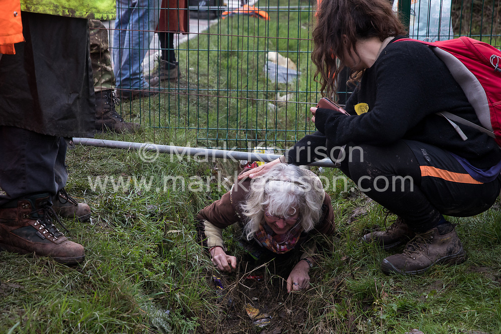 Harefield, UK. 8 February, 2020. An elderly activist crawls through a ditch after HS2 engineers tried to prevent environmental activists from Save the Colne Valley, Stop HS2 and Extinction Rebellion from accessing an area of Harvil Road fenced off in order to carry out tree felling works for the high-speed rail project. The activists were successful in preventing any of the scheduled tree felling by HS2 and after an intervention by a police officer all tree felling and strimming work has now been cancelled for the weekend.