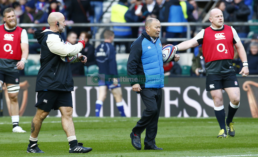 February 10, 2019 - London, England, United Kingdom - England's Coach Eddie Jones during warm up..during the Guiness 6 Nations Rugby match between England and France at Twickenham  Stadium on February 10th, 2019 in Twickenham, London,  England. (Credit Image: © Action Foto Sport/NurPhoto via ZUMA Press)